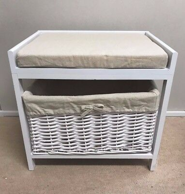 White Storage Stool Footstool Wicker Basket Seat Cream Cushion Bench Hallway
