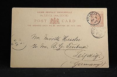 St Lucia: 1893 Half Penny Postal Card to Germany