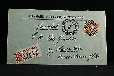 Uruguay: Montevideo 1894 Registered Label Cover to Argentina