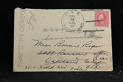 USS Pittsburgh: 1917 05/28 Censored and Forwarded Cover