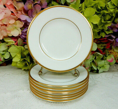 8 Wedgwood Porcelain Bread & Butter Plates California White Gold Encrusted W4377