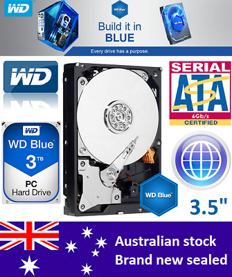 "Western Digital WD Blue 3TB 3.5"" SATA Internal Hard Drive HDD WD30EZRZ Brand New"