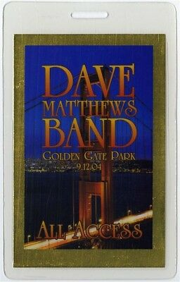 Dave Matthews Band authentic 2004 concert Laminated Backstage Pass Golden Gate
