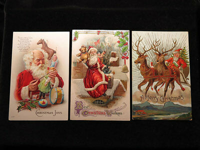 Postcards : Father Christmas, small original collection, embossed