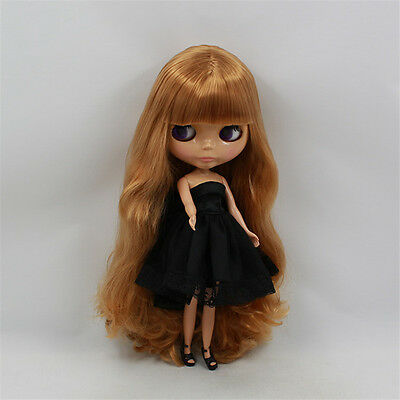 Takara 12'' Nude Blythe Doll From Factory Long Golden Hair With Bangs Tan Skin