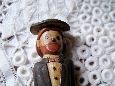 VTG HAND CARVED FOLK ART CARVING OF MAN Sailor Groom Leather Hat amish