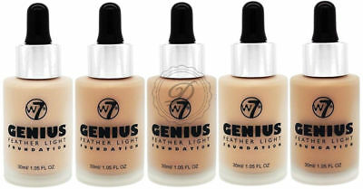 W7 Genius Foundation - Light Coverage Liquid Flawless Fair Face Beauty Natural