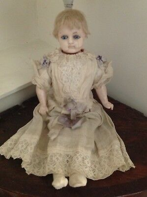19thC Antique wax over child doll - all Original clothes