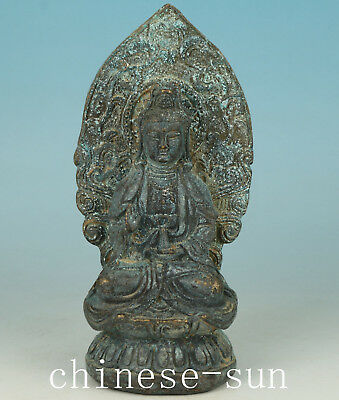 Asian Chinese Old Bronze Handmade Carved Buddha Kwan-yin Statue Home Decoration