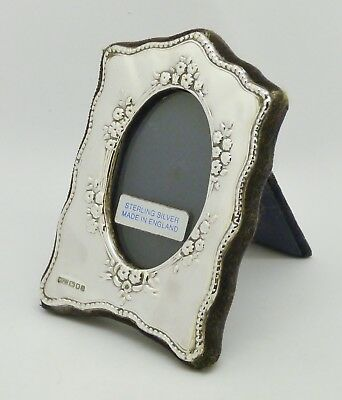 Lovely Vintage Small Solid Silver Photo Frame Hm 1992 Floral Pattern Great Gift!