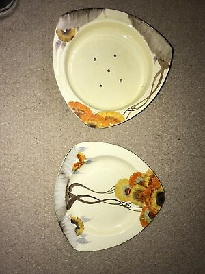 Original Clarice Cliff Newport Pottery Rhodauthe Patterned Salad Drainer