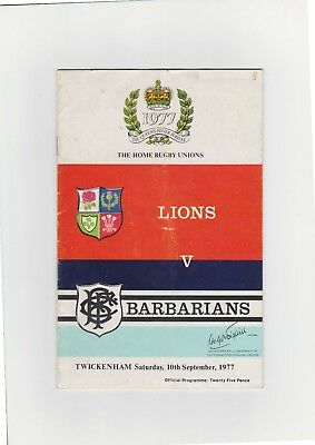 Lions v. Barbarians Rugby Union Programme 1977 at Twickenham