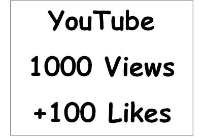 1000 Views + 100 Likes +1 Dislikes für ihr Youtub Video