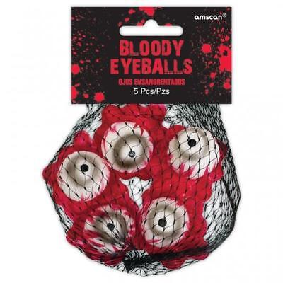 Peeks Fake Bloody Eyeballs Scary Gory Halloween Decorations Props - Pack of 5