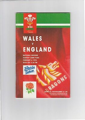 Wales v. England Rugby Union Programme 1993