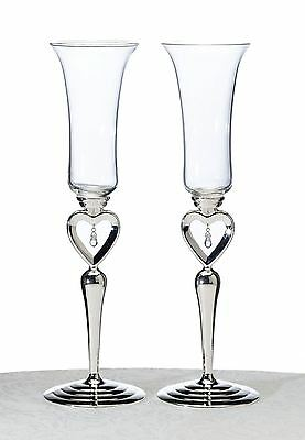 Pair of Heart & Jewelled Toasting Wedding Party Wine Champagne Flutes Glasses