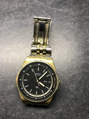 1980's Seiko Quartz Men's Watch Japan Movement With Date And Light For Parts.