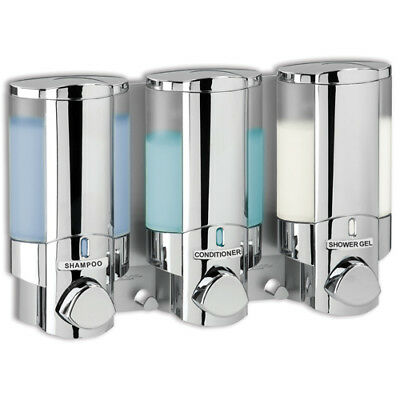 Aviva 3-Fach Seifenspender Chrom Duschspender Hotel Soap Dispenser