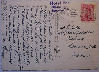 Austria: Hotel Posting 1958 Hotel Post Lermoos to Ealing.