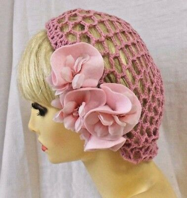 VINTAGE INSPIRED 1940's STYLE HAT HAND CROCHET PINK SNOOD WITH FLOWERS HAIRNET