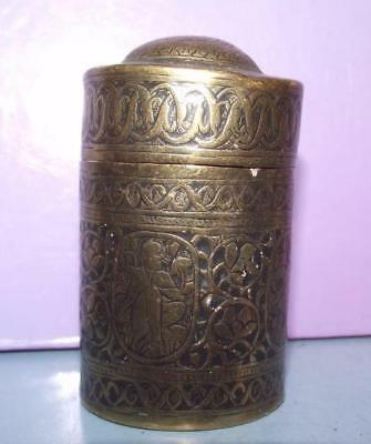 Good Antique Anglo- Indian Brass Round Engraved Container Tobacco?