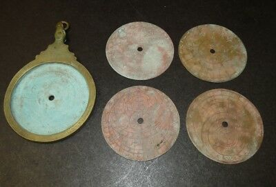 "Unusual Vintage 6"" Brass Circular Arabian Astrolabe With 4 2-Sided Discs!"