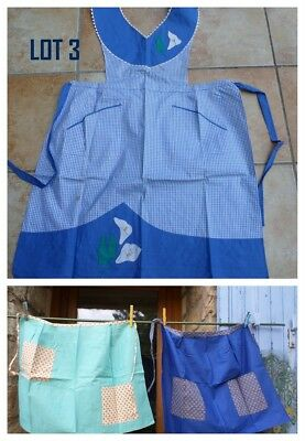 LOT 3 LADIES  APRONS & PINAFORES unused VINTAGE/ RETRO FRENCH ideal XMAS GIFT ?