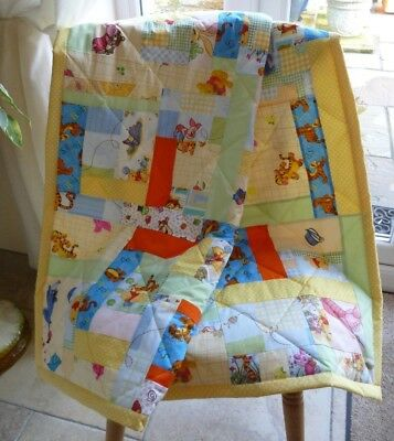 Handmade Patchwork Cot Quilt or Play Mat 'Winnie the Pooh' unisex