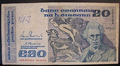 1990 Ireland, Central Bank of, L20 Pounds Note Circulated** FREE U.S SHIPPING *