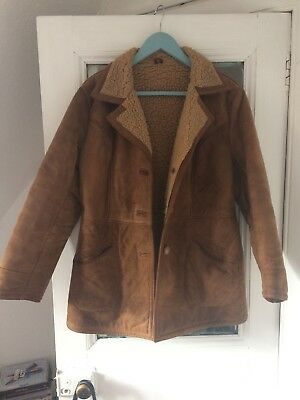 Vintage 70s Brown Sheepskin Suede Shearling Coat Jacket 10