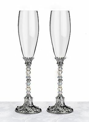 Pair of Beaded Toasting Wedding Party Wine Champagne Flutes Glasses