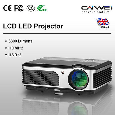 3800lumens LCD LED Heimkino Beamer Projektor Full HD Videospiele TV PC HDMI USB