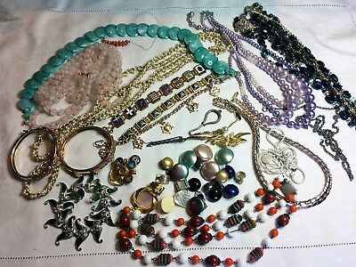 Job lot of vintage & costume jewellery -  ideal for crafting, jewellery making