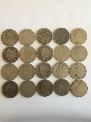 Liberty Nickel  Cull Lot   20 Coins