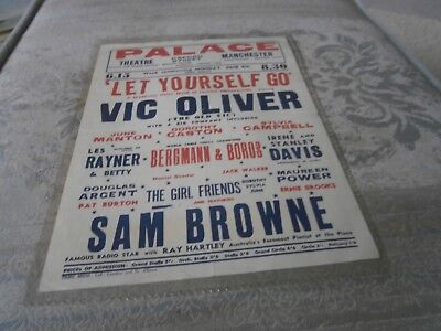 """Palace Theatre Manchester- Small Poster- """" Let Yourself Go"""" Vic Oliver"""