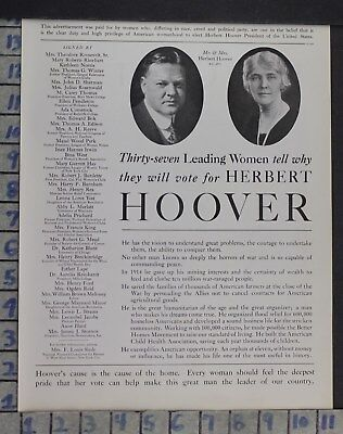 1928 Historic Suffrage Political Hoover Presidential Election Vintage Ad Dm29