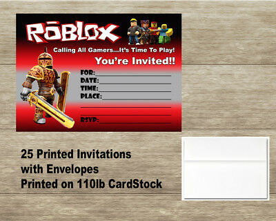 Roblox Birthday Invitations - 25 Cards with 25 Envelopes