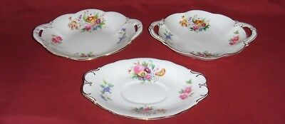 "COALPORT Bone China ""JUNETIME"" TWO HANDLED BOWLS & a TRAY"