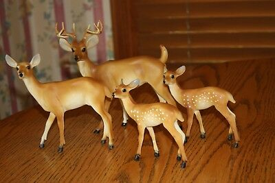 Vintage Christmas Deer Family of 4 Buck Doe 2 Fawns Celluloid Plastic Hong Kong