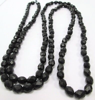 Very long antique vulcanite (faux jet) bead mourning necklace