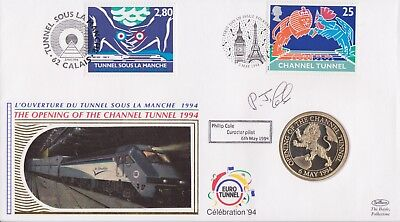 Gb Stamps First Day Cover 1994 Channel Tunnel Doubled Coin Signed By Driver