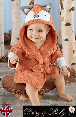 baby kids dressing gown bath towel boy girl hooded children babies beach fox UK