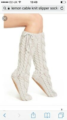 The Lemon Collection cable knit slipper socks
