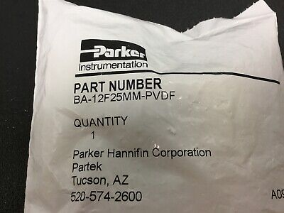 """New Parker BA-12F25MM Flare Union, Compression Fitting, 3/4"""" In Tube PVDF"""