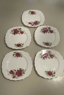 5 Colclough Bone China Tea Plates Red Roses and gilt edged Made In England.