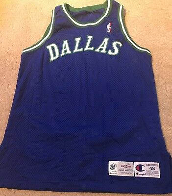Champion Blank 95 96 Dallas MavericksTeam Issued Pro Cut Game Jersey  Size 48
