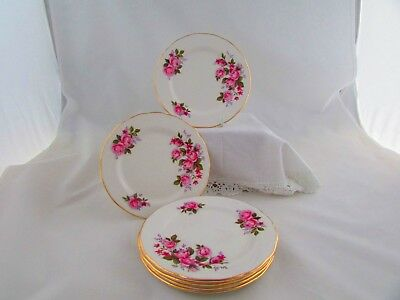 QUEEN ANNE SIDE PLATES x 6 WITH PINK ROSES PATTERN