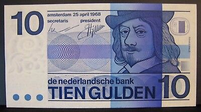 1968 Netherlands, Bank of, 10 Gulden Note, CU Notes     ** FREE U.S SHIPPING **