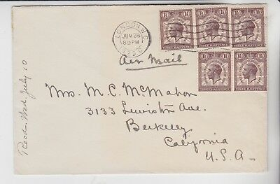 Gb Stamps 1929 Airmail Envelope To California Rares Collection