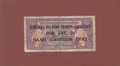 *British Armed Forces NAAFI Canteens Military Banknote 3 Pence 1946 M-9B AF Arms